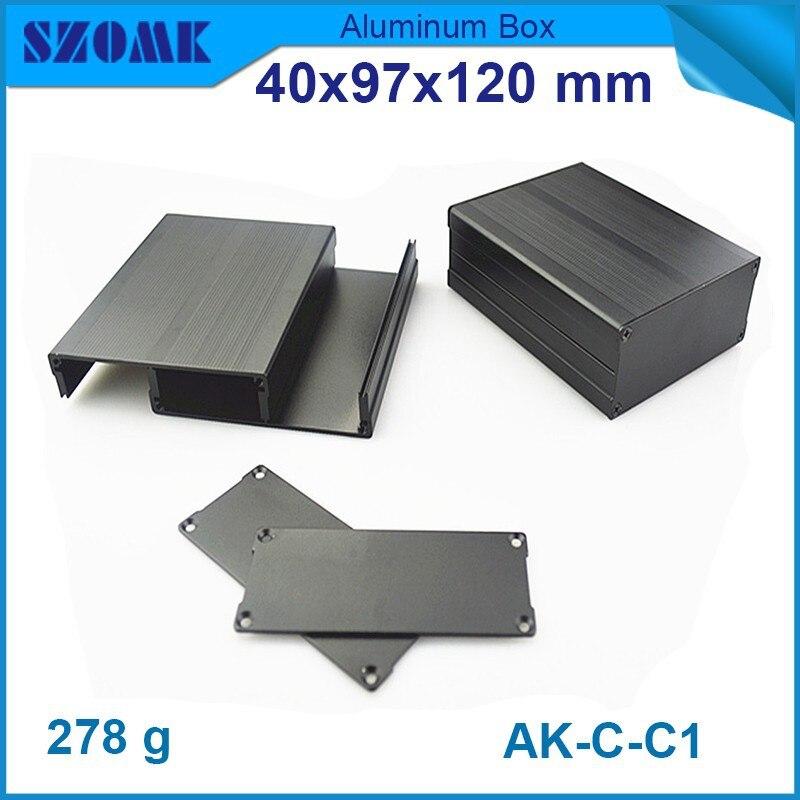 4 قطعة/الوحدة حار بيع في أسود اللون الألومنيوم مربع من الالكترونيات diy تصميم و الهاتف و Wifi الاستشعار الإسكان 40(H)x97(W)x120(L