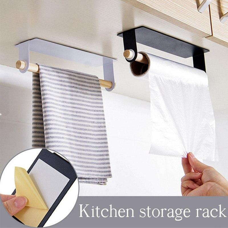 1pc novo suporte de parede de madeira e metal moda toalha rack de armazenamento caixa de pano suporte plástico envoltório rack de armazenamento cozinha accessorie