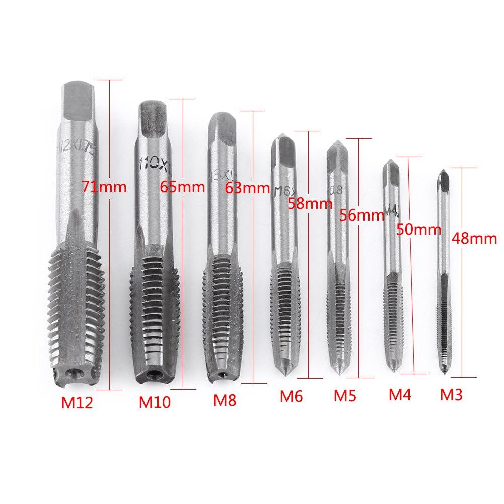 ANENG 7Pcs/Lot Metric Thread Steel Tap Tapping Thread Tap Tool M3, M4, M5, M6, M8, M10, M12 Screw Taps Tool Set
