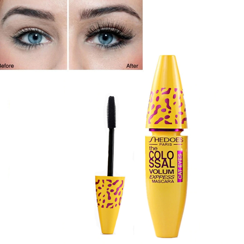 3D Silk Fiber Eyelash Mascara Thick Curling Waterproof Yellow Tube Lasting Black Eye Mascara Makeup Cosmetics TSLM2