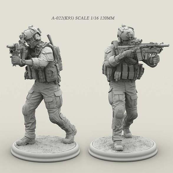 Kits de figuras de soldados de resina 1/16 modelo de fuerzas especiales A-022 incoloro y autoensamblado (k59)