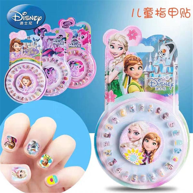Disney children stickers toys girls cartoon princess nail stickers frozen nail patch Pony Polaroid plastic fake nails set gift
