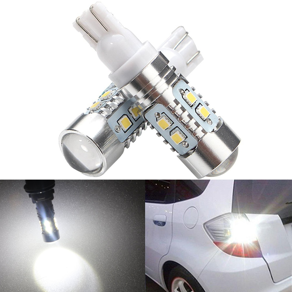 2pcs T10 W5W 921 2323 SMD 10 LED bulbs light High Power Car led Side Wedge Tail Lamp Lights 194 168 With lens White 12V 24V
