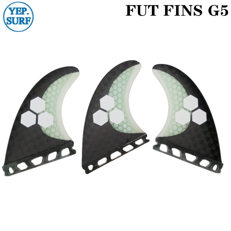 Future G5 Surfing Fin Fiberglass Honeycomb Black and White Color with logo Fins Customized Surfboard