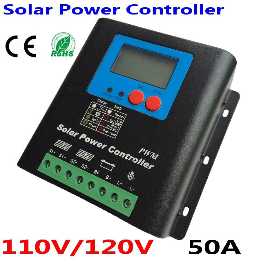 Controlador de carga Solar de 50 a 110V o 120 V, regulador de batería de 110V o 120V 50A para módulos de paneles solares PV de 6000 W, pantalla LED y LCD
