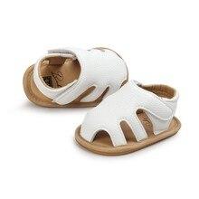 Verão bebê menino meninas crianças primeiros caminhantes oco para fora respirável borracha macia couro do plutônio sapatos