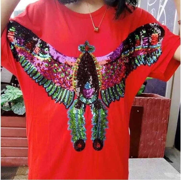 3D Bird eagle Embroidery Neckline Lace Applique Paillette Fabric Sweater Clothes Patch Sequined Stickers t-shirt Diy Decoration
