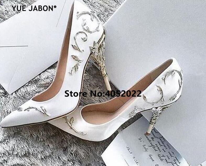 YUE JABON de diseñador de lujo para mujer zapatos impresionantes puntiagudos fiesta de boda zapatos de tacones altos Metal embellecido señoras Pump
