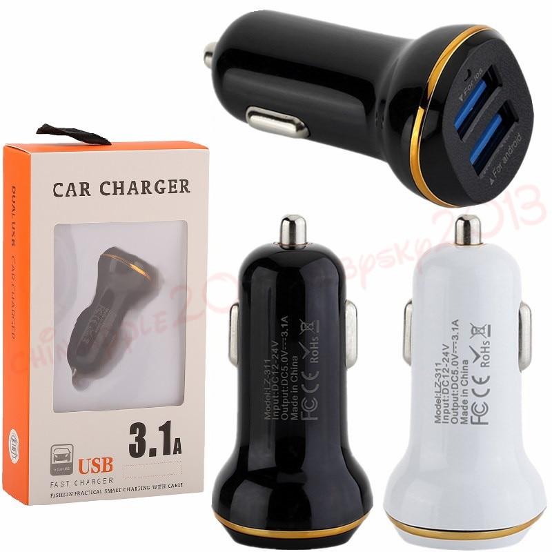 Cargador de coche 3.1A, 2 puertos usb, adaptador de corriente automático, cargador de coche para ipad iphone 7 8 Samsung s7 s8, teléfono android con caja de venta al por menor