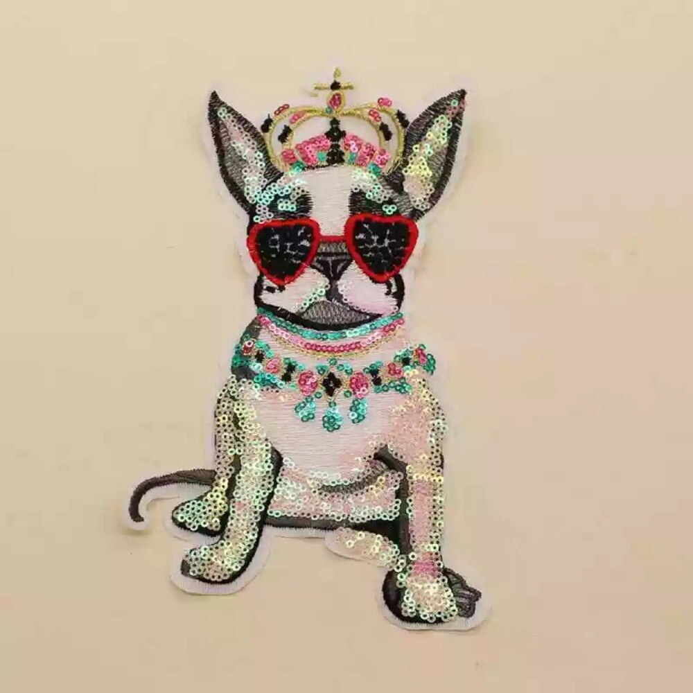 ¡Novedad! Parches para coser parches decorativos Crown Pug Dog para ropa bolsa motivo grande aplique bordado de lentejuelas