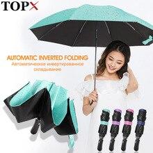 Paraguas con revestimiento negro totalmente automático, paraguas de Color a la moda para mujer, 3 paraguas plegables resistentes al viento, regalo de viaje para hombre, Parasol