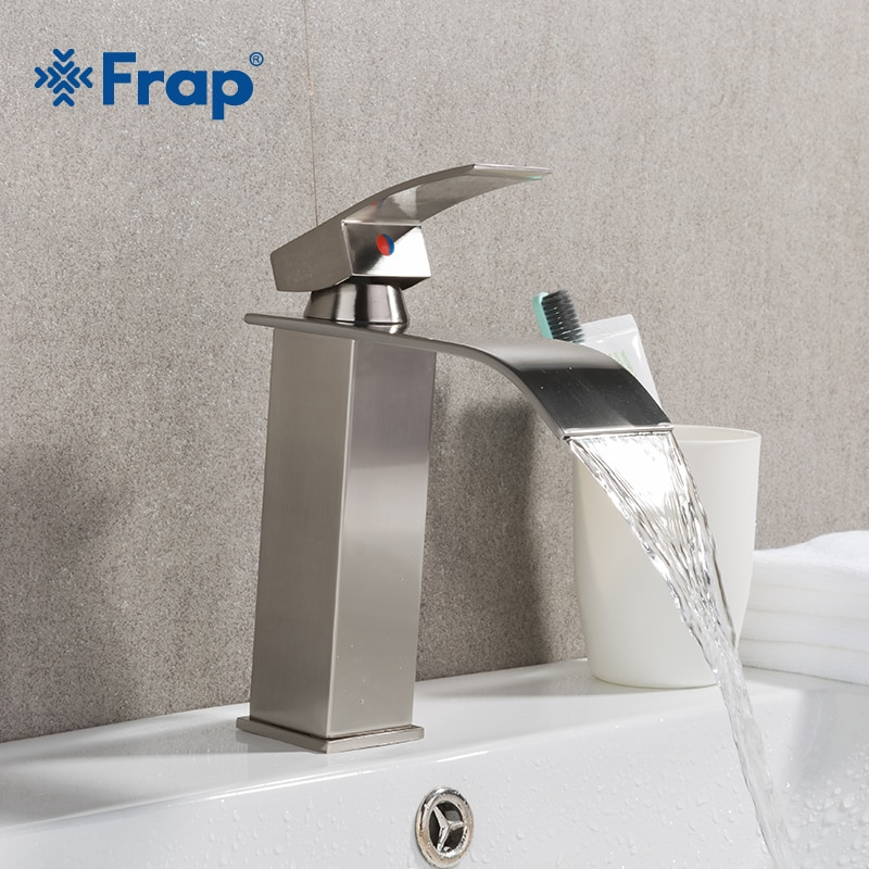 Frap-حنفية حمام من النيكل المصقول ، حنفية شلال بمقبض واحد ، خلاط مياه ساخن وبارد ، Y10137