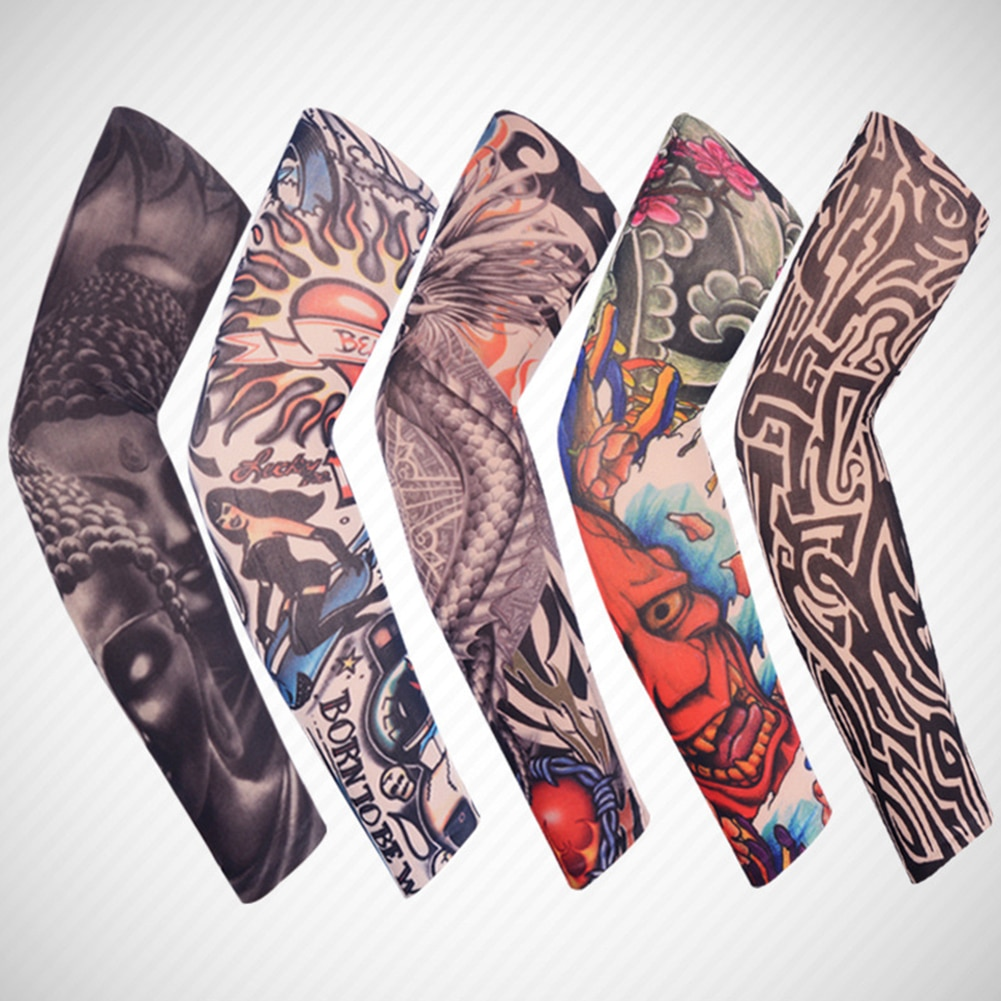 wholesale 1pcs arm warmers cycling sleeves manga tattoo sleeve printed uv protection mtb bike bicycle arm protection ridding 1PC Outdoor Cycling Tattoo sleeve 3D Tattoo Printed Arm Warmer UV Protection Bike Bicycle Sleeves Arm Protection Ridding Sleeves