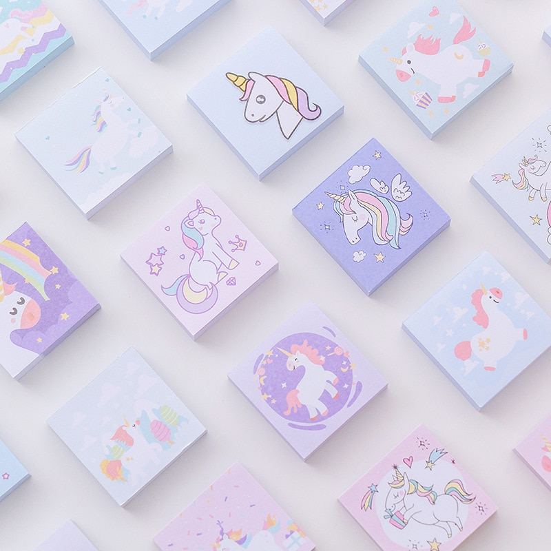 40 Pcs/lot Cartoon Colorful Unicorn Memo Pad Notes Bookmark School Office Supply Escolar Papelaria