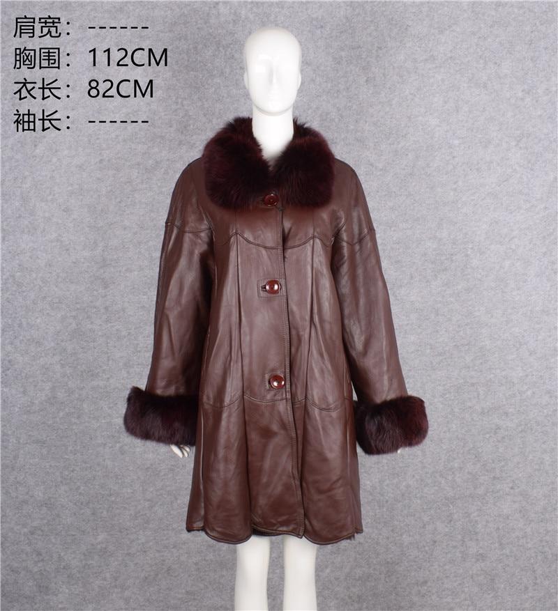 Europa formal mujer mamá madre de invierno ropa genuina esquilar lana forro abrigo real natural piel de zorro cuello chaqueta xxxxxxl