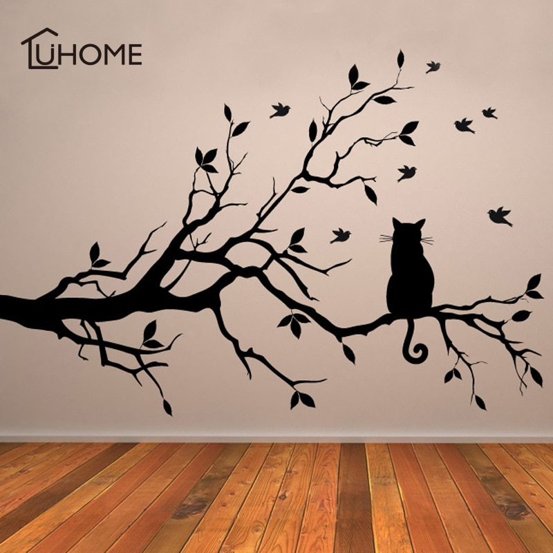 Милый котенок на ветка дерева с птицами, настенный стикер, виниловая художественная наклейка, наклейка на окно, трафарет для детской комнаты, Декор, черный цвет, 38x58см