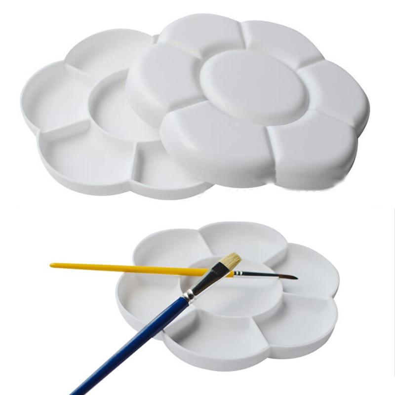 Paleta de 7 rejillas de 16cm de Color grande con tapa de plástico, paleta de pintura de arte, bandeja de dibujo, acuarela al óleo, paleta de pintura blanca