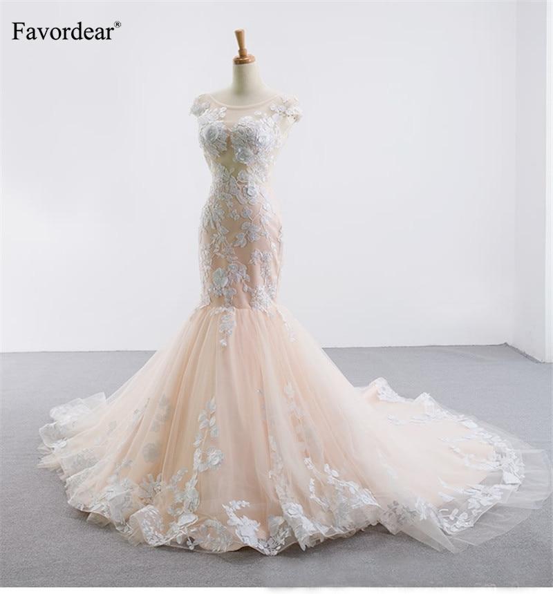 Favordear 2019 חדש הגעה Applique בת ים כלה שמלת 2019 Vestido דה Novia ללא משענת ארוך שמלה לחתונה חלוק Mariee