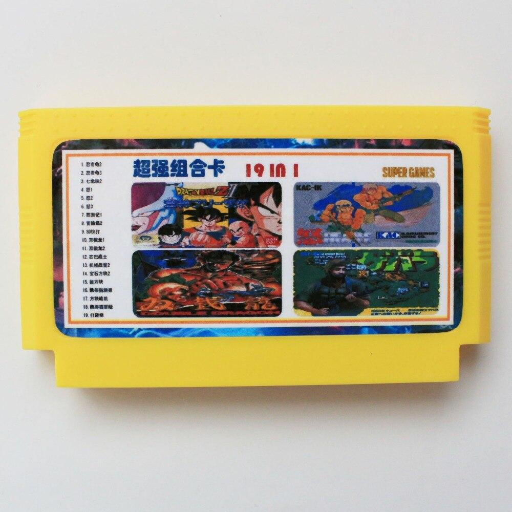 19 En 1 amarillo grande de 8 bits 60 pines tarjeta de juego