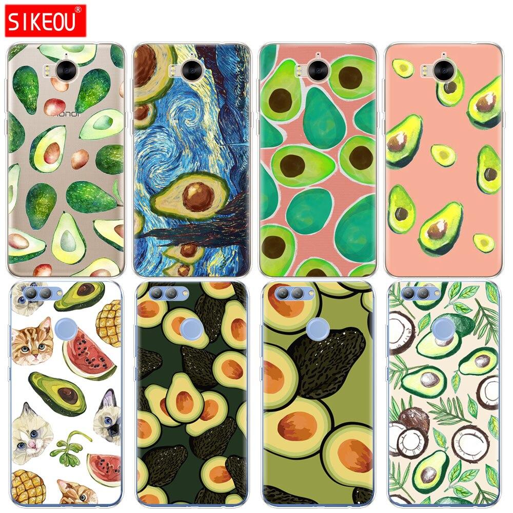 Funda de silicona para teléfono huawei Y3 Y6 Y5 2 II 2017 nova 2s 2 LITE plus Diseño de Arte de aguacate