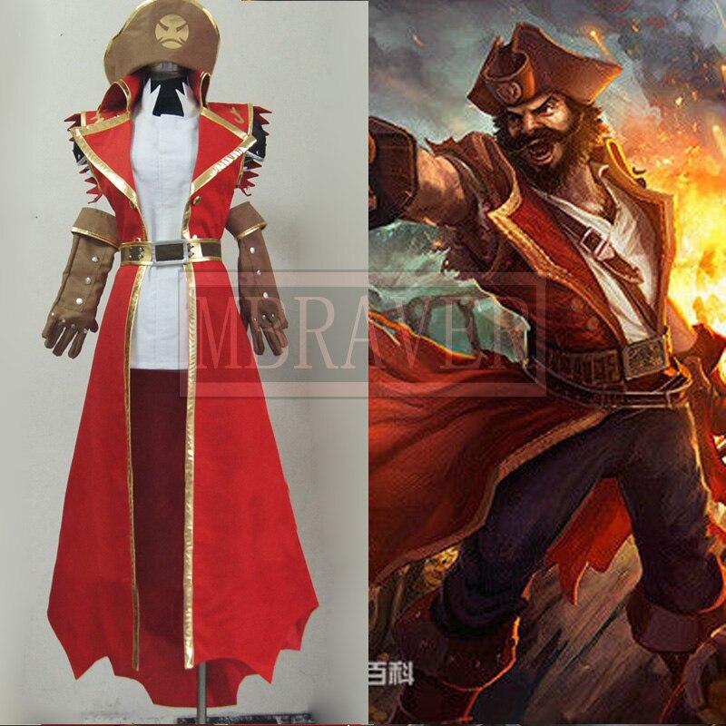 Lol gangplank cosplay traje personalizar qualquer tamanho