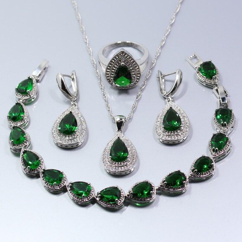 Prata cor gota de água verde zircão agradável conjunto de jóias brincos anel colar pingente pulseira para mulher caixa de presente w138