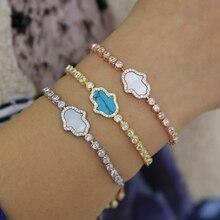 Bracelet pour les femmes et les filles, breloque pour la main de Fatima, style Boho Hamsa, style Boho, ajustable, chaîne de tennis cz, à la mode