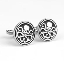 Nouveauté Agents de bouclier S.H.I.E.L.D grêle Hydra Logo boutons de manchette en métal bouton de manchette rond boutons broches pour chemise pour hommes