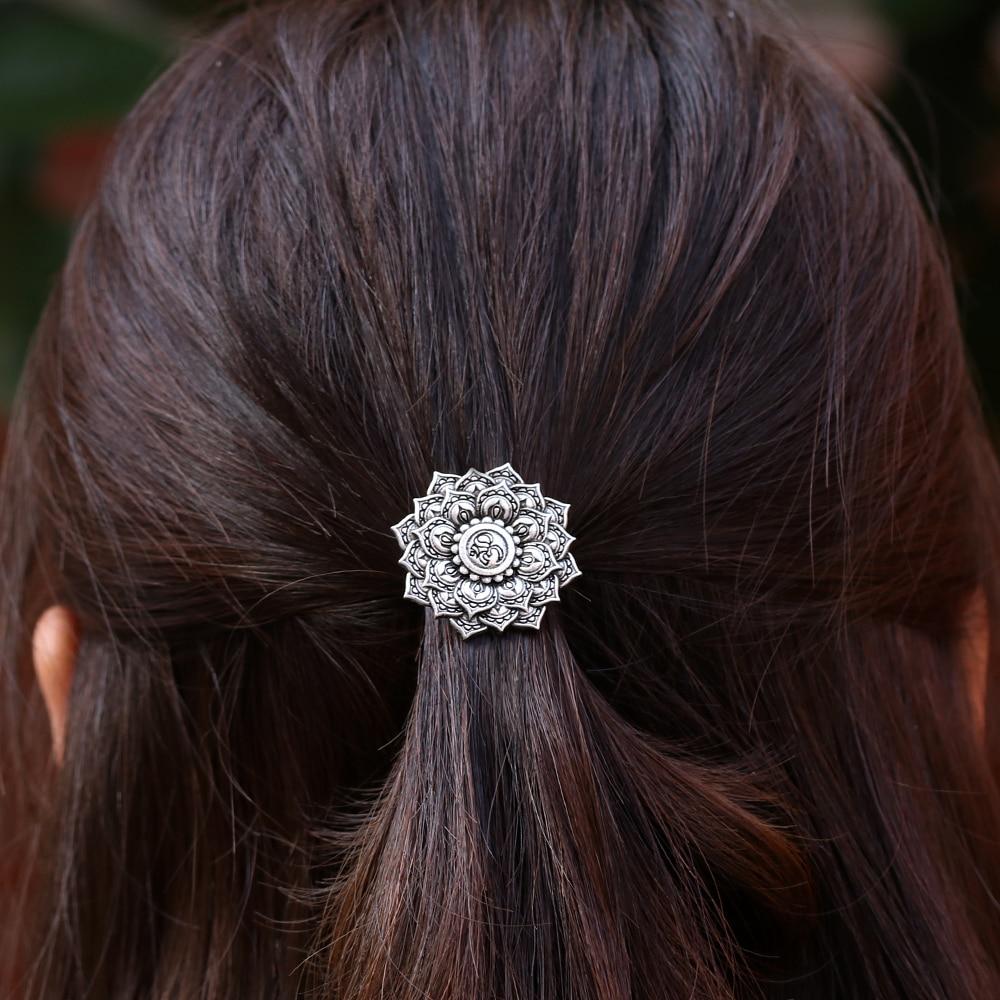 Pasador de pelo de mujer de plata antigua Yoga Chakra Mandala OM amuleto Lotus