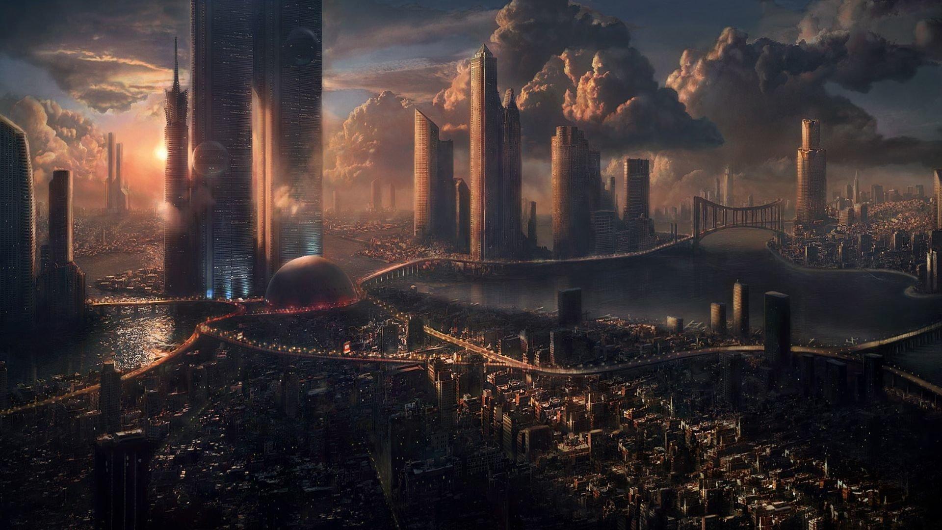 Pré Terraformation Sci Fi Skyline Da Cidade de Montanha Sol backdrops Computer print fundo festa de Alta qualidade