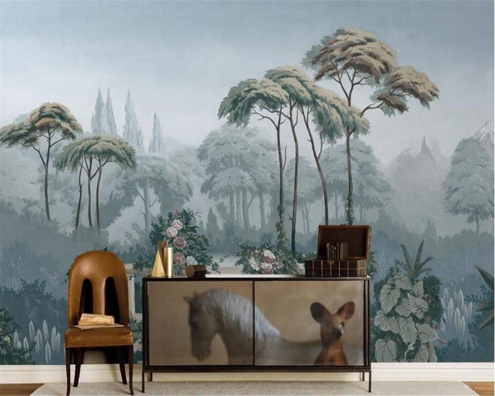 Beibehang personalizado papel de parede europeu jardim pintados à mão medieval tropical selva sofá pintados à mão murais 3d