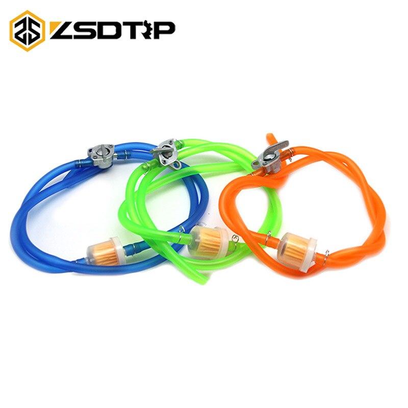 ZSDTRP Um Definir Linha De Combustível Gasolina Toque ON/OFF Switch + 1 m Tubo de Combustível De Óleo Mangueira + 1 filtros + 4 Clips 50cc 110cc 125cc Pit Bike