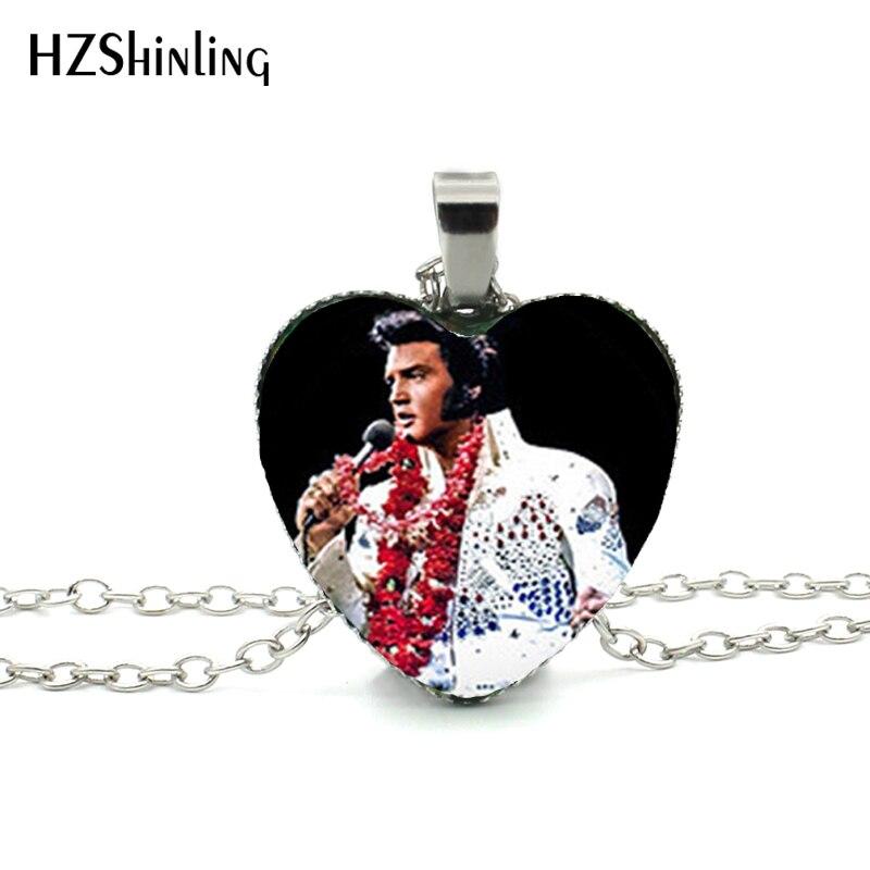2016 novo elvis presley coração colar elvis presley jóias estrela do rock murano vidro coração hz3