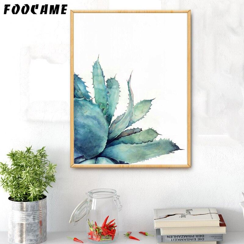 FOOCAME acuarela plantas tropicales Cactus Posters e impresiones arte lienzo pintura decoración del hogar cuadros de pared para sala de estar