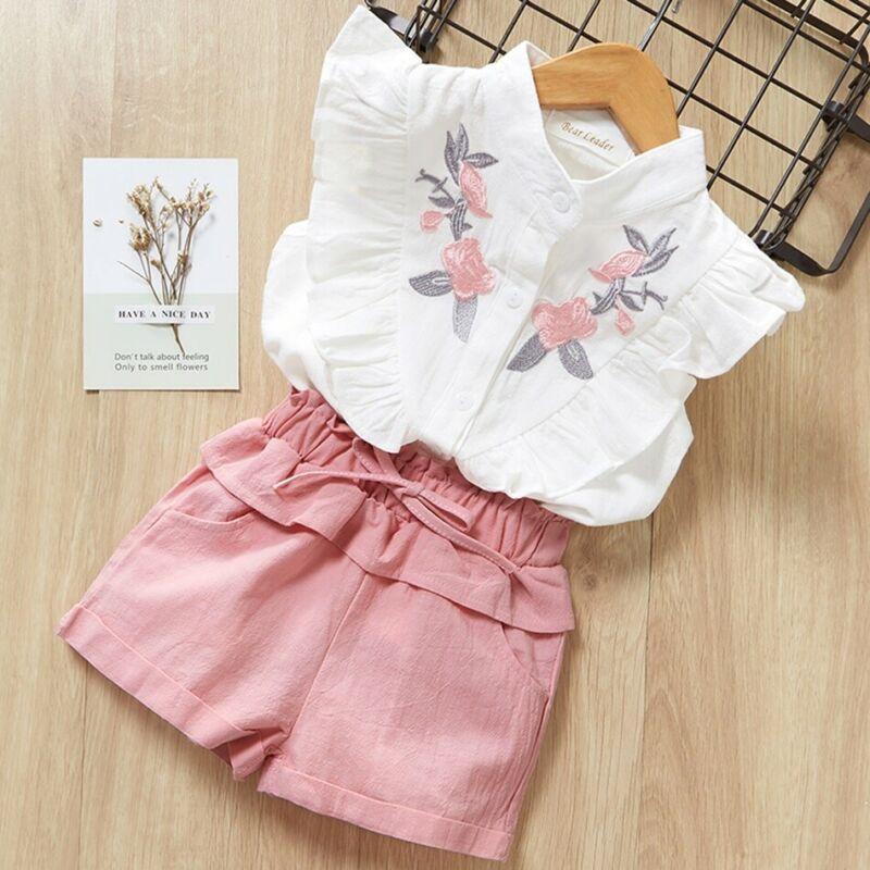2019 chico para niñas, bebés, volantes, camisas con bordado Floral, camisetas sin mangas + Pantalones cortos con lazo rosa, conjuntos de trajes de algodón, traje de sol