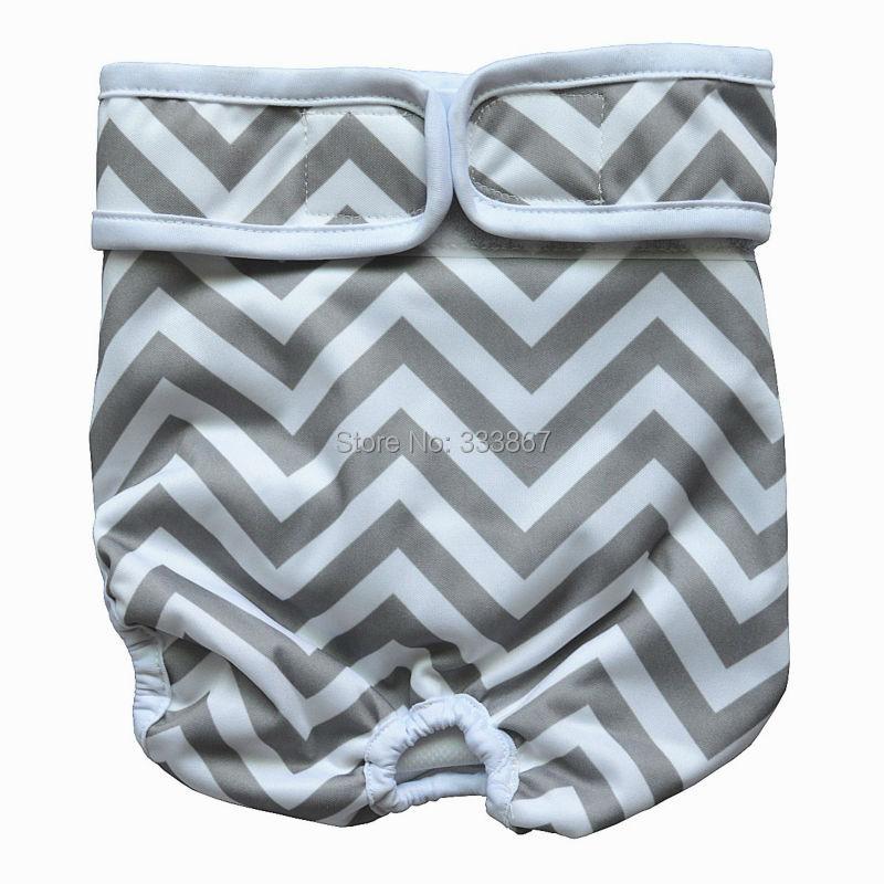 1 pañal de perro lavable reutilizable Durable perrito cachorros de compañía pantalones envoltura para hombre hembra, gris Chevron Zigzag, recién nacido, XS, S, M, L