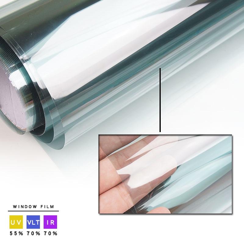 ¡70% VLT película Solar de tinte frontal de coche! Parabrisas lateral enrollable de 76x300cm de color azul claro.