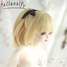 Allaosify BJD SD perruque 1/3 1/4 cheveux poupée perruque 100% haute qualité fibre perruque à faire soi-même plusieurs couleurs queue de cheval cravate fleur