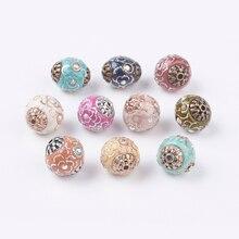 10pc 14mm couleur mélangée à la main indonésie perles avec noyaux en alliage et strass plaqué rond bijoux à bricoler soi-même
