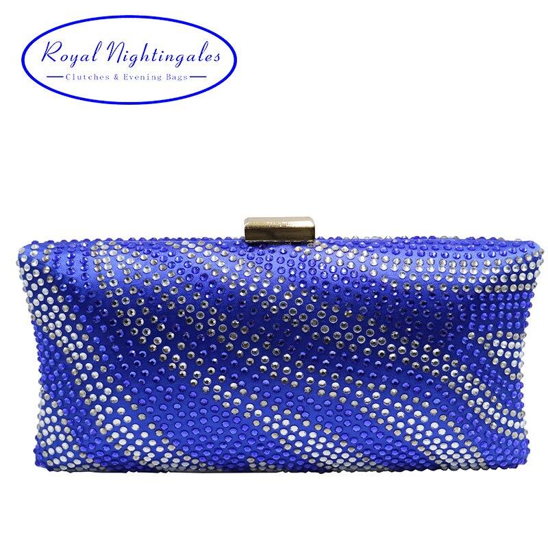 Sacs de soirée en cristal bleu Royal et pochettes avec diamant en cristal strass pour soirée de mariage