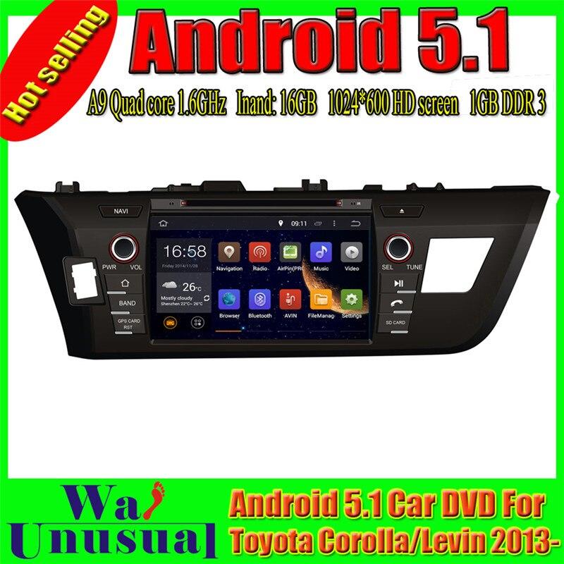 WANUSUAL 1024*600 8 pulgadas Octa Core 32G 4G RAM Android 6,0 navegación GPS para Toyota Corolla para Levin 2013, 2014, 2015, 2016, 2017