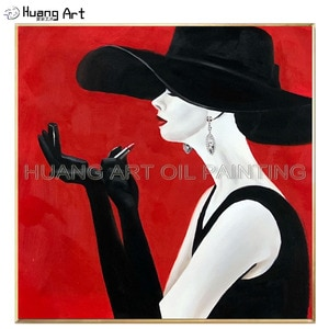 Artist Handmade Beautiful Elegant Lady Portrait Oil Painting on Canvas Woman in the Black Hat is Put Lipstick on Lips Painting