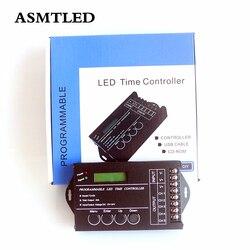 Controle de tira led original dc12v-24v 20a, tempo programável de 5 canais, cct dim rgb rgbw com dimmer led + porta usb + disco cd