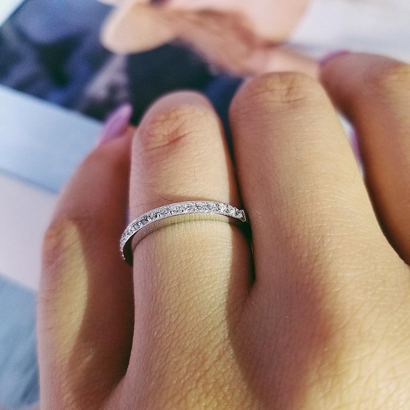 Anillo de compromiso de Plata de Ley 925 auténtica sólido, anillo de boda para mujer, diseño de dedo de eternidad, moda personalizada LR4211AS