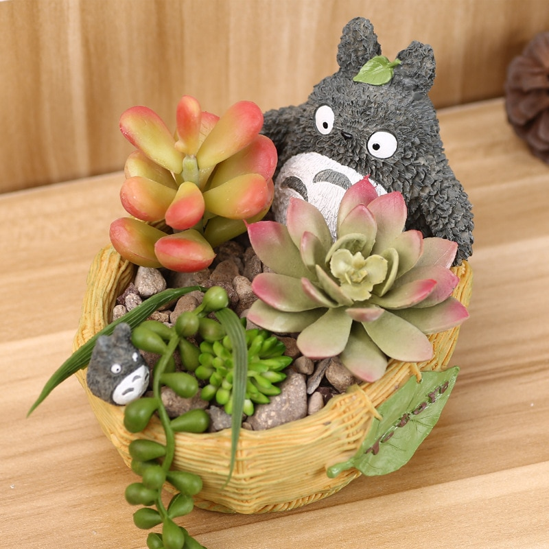 Zakka TOTORO Flower Pot Creative Home Furnishing Ornaments Cartoon Chinchillas Fleshy Resin Succulent Plants  Flowerpot