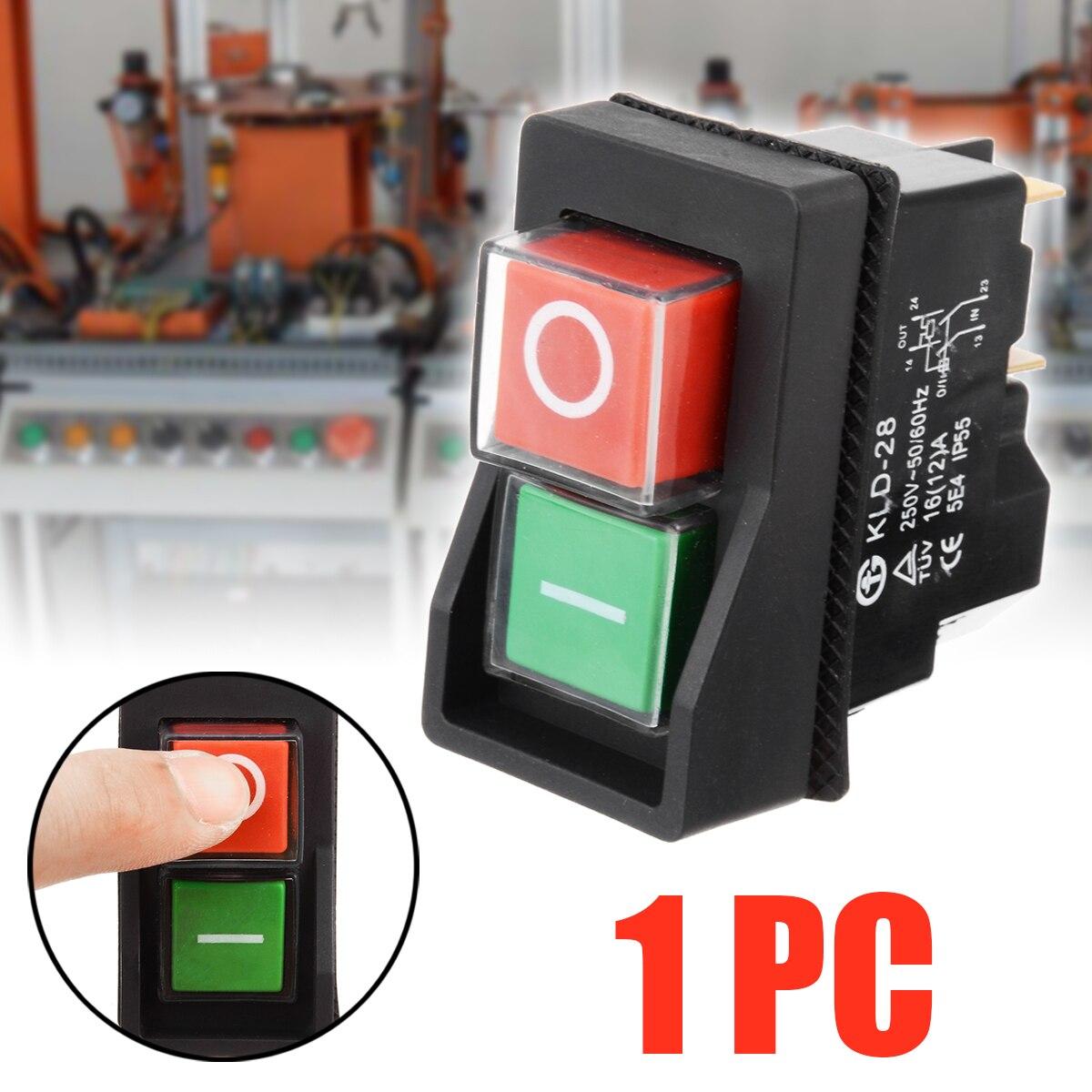 250V 16A водонепроницаемый магнитный переключатель включения выключения IP55 KLD28 4 Pin Start Stop магнитный переключатель включения выключения для мастерских машин 54*30*55 мм