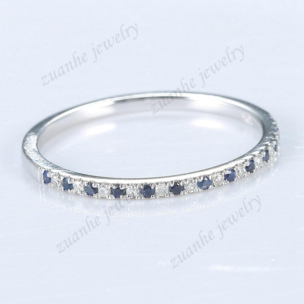 Anillo de compromiso de oro blanco de 14k con diseño de zafiros y diamantes naturales de 12 quilates, joyería fina