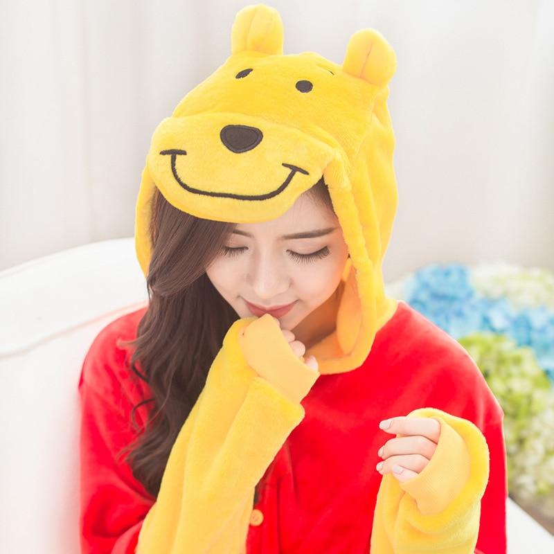 Winnie Bear Animal Cosplay Costume Onesie Hoodie For Adult Women Men Halloween Holiday Party Flannel Full Length