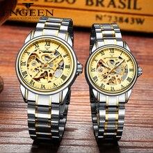 Couple montres montre-bracelet mécanique en acier de marque supérieure pour hommes et femmes Orologio Uomo Tourbillon squelette Relogio Feminino Saats