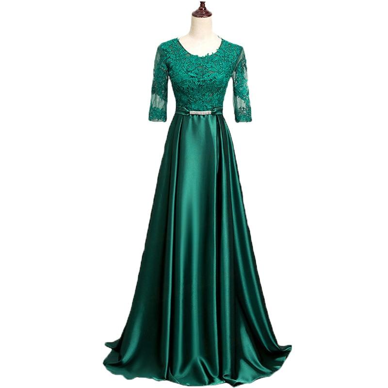 Popodion Long Style Bridesmaid Dresses Mid Sleeve Lace Dress Bridesmaid Gown vestido de festa longo ROM80139